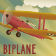 Retro Style Biplane with Banner in a Radiant Sky - GraphicRiver Item for Sale