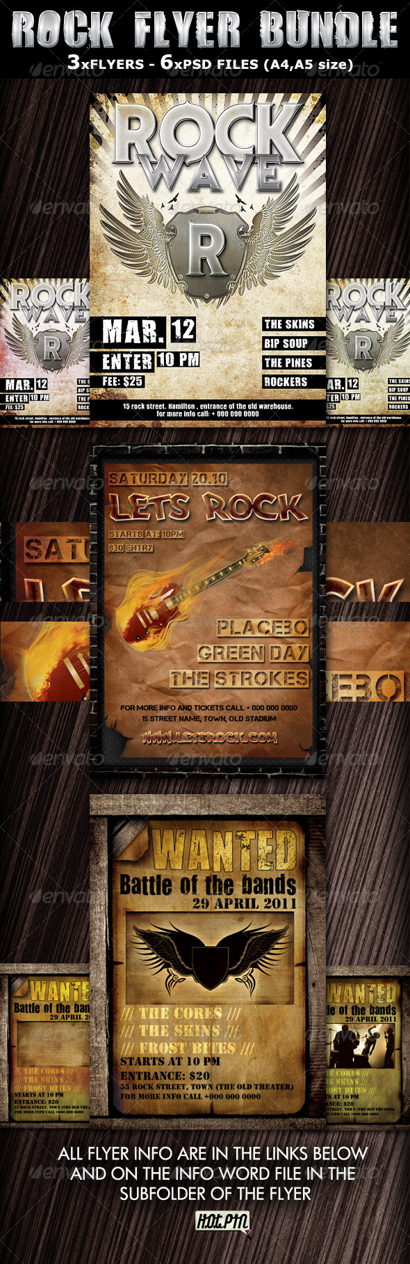 Rock Party-Concert Flyers Templates bundle - Clubs &amp; Parties Events
