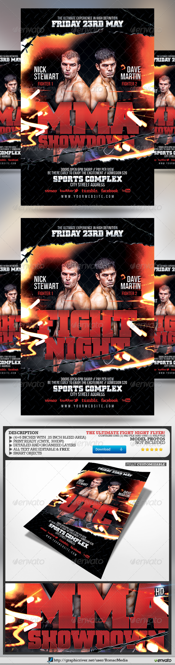 GraphicRiver Fight Night Flyer 4632513