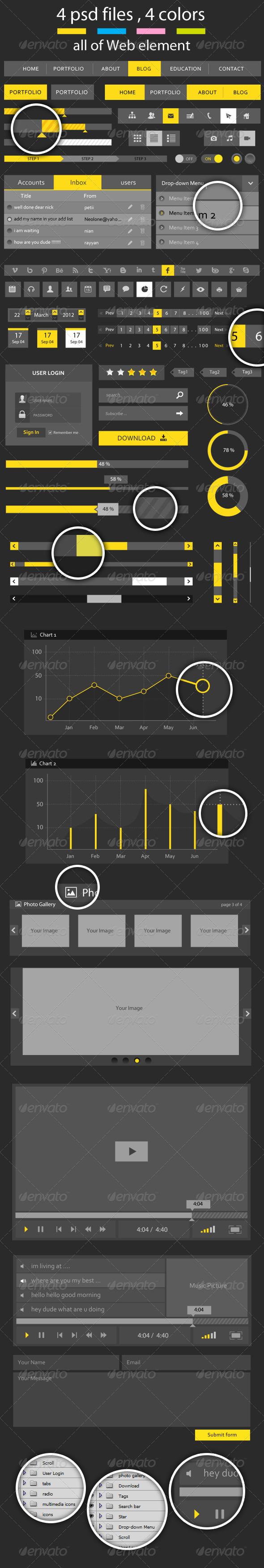 GraphicRiver Creative Flat Web Element 4612058