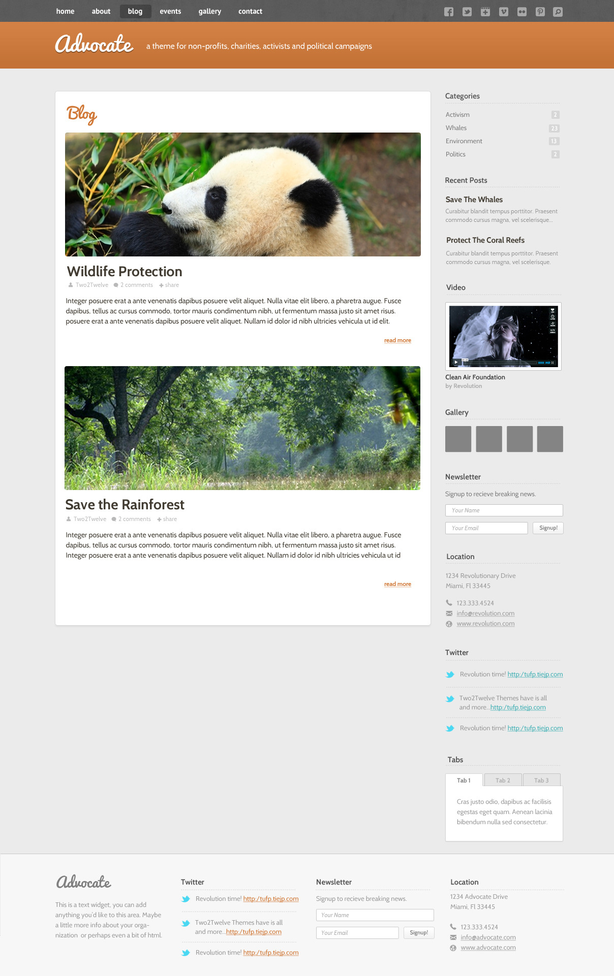 Advocate - A Nonprofit WordPress Theme - Blog - The blog can be used to display images or mini-sliders along with your blog posts and custom sidebar widgets.
