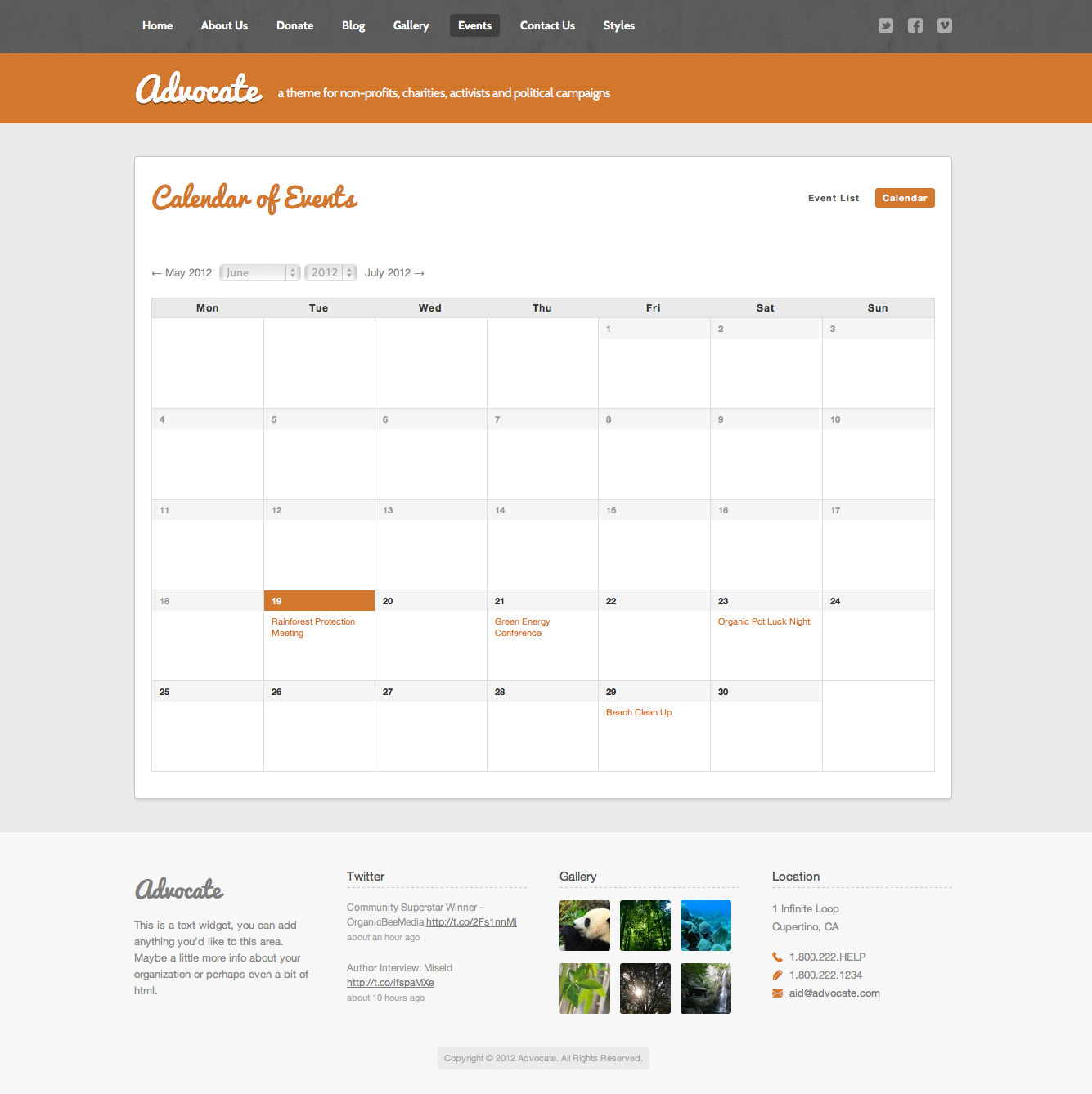 Advocate - A Nonprofit WordPress Theme - Events Calendar