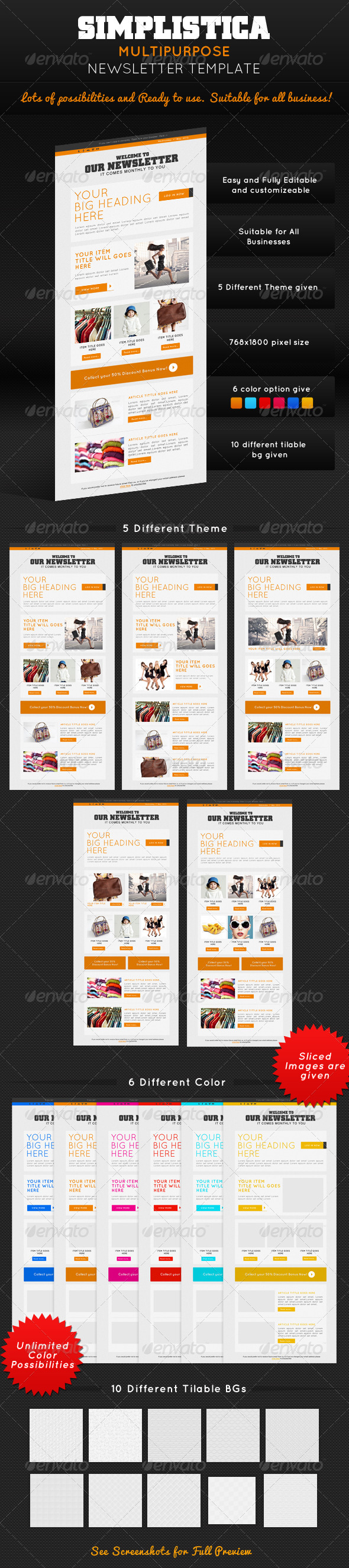 GraphicRiver Simplistica Multipurpose E-Newsletter Template 4634907