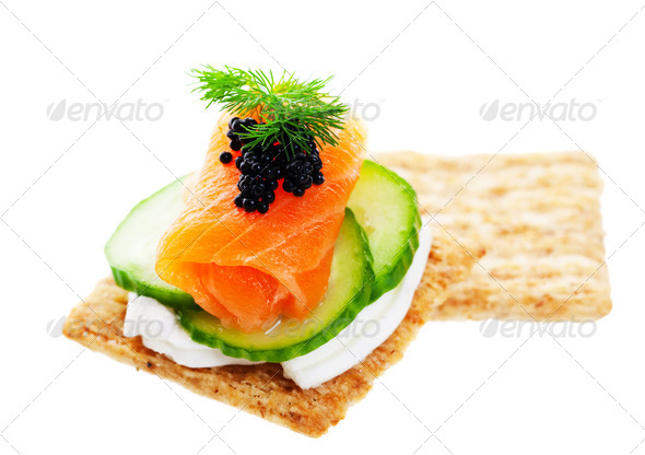 Salmon caviar canape stock photo by songbird839 photodune for Canape with caviar