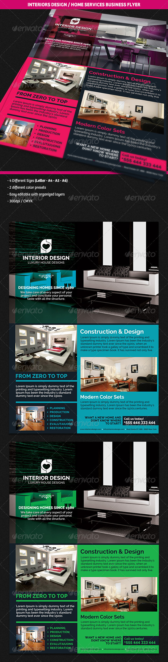 GraphicRiver Interiors Design & Home Services Business Flyer 4636125