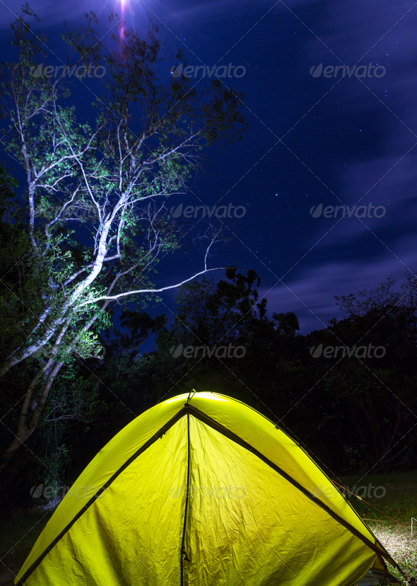 Tent in night - Stock Photo - Images
