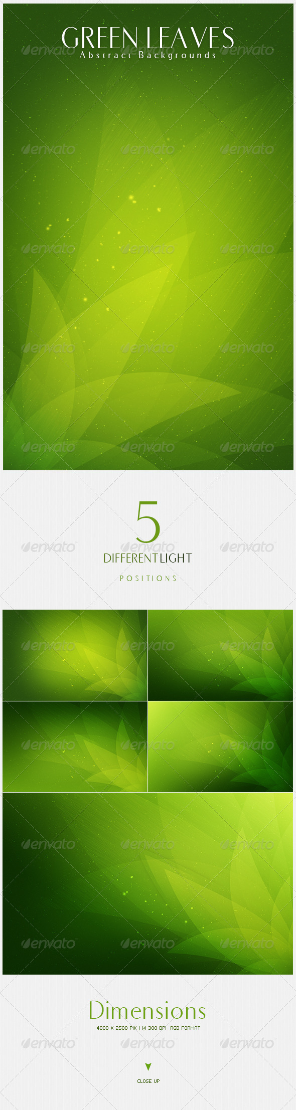 GraphicRiver Green Leaves Abstract Backgrounds V5 4637117
