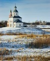 Winter landscape with white orthodox church - PhotoDune Item for Sale