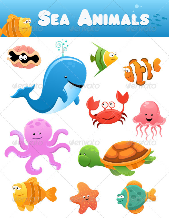 GraphicRiver Sea Animals Collection 4638323