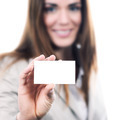 woman handing a blank business card - PhotoDune Item for Sale