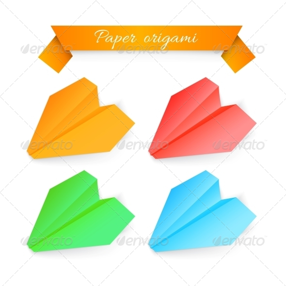 GraphicRiver Paper Airplane Origami Vector Illustration 4639656