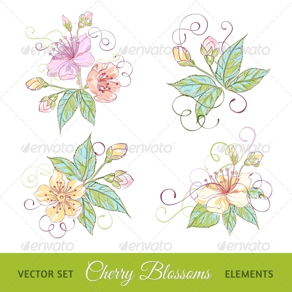 GraphicRiver Set of Cherry Flowers 4640313