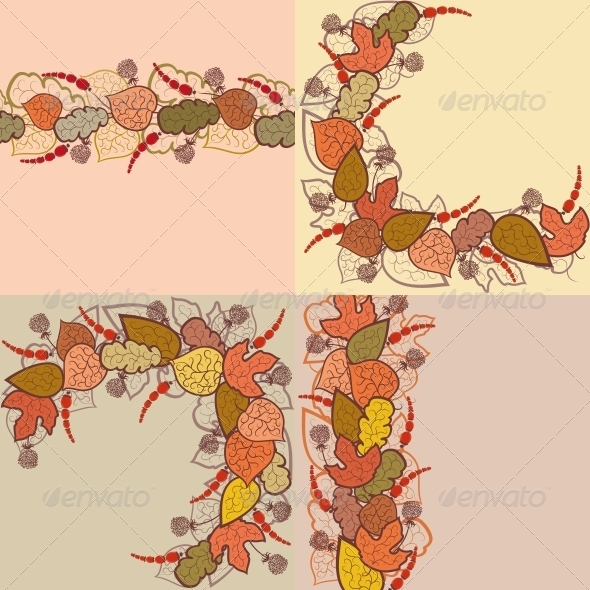 GraphicRiver Autumn Vector Background with Leaves and Berries 4640421