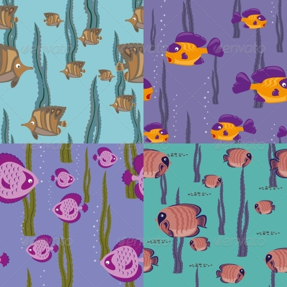 GraphicRiver Seamless Pattern Pink Fish 4640439