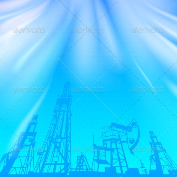 GraphicRiver Oil Rig and Pump over Blue Luminous Ray 4640679