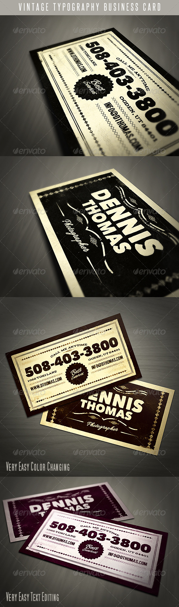 GraphicRiver Vintage Typography Business Card 4640805