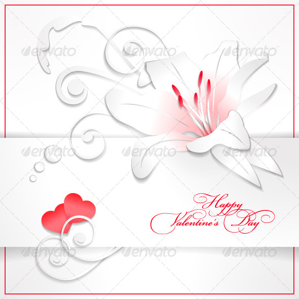 GraphicRiver Floral Valentine s Day White Background with Heart 4641944