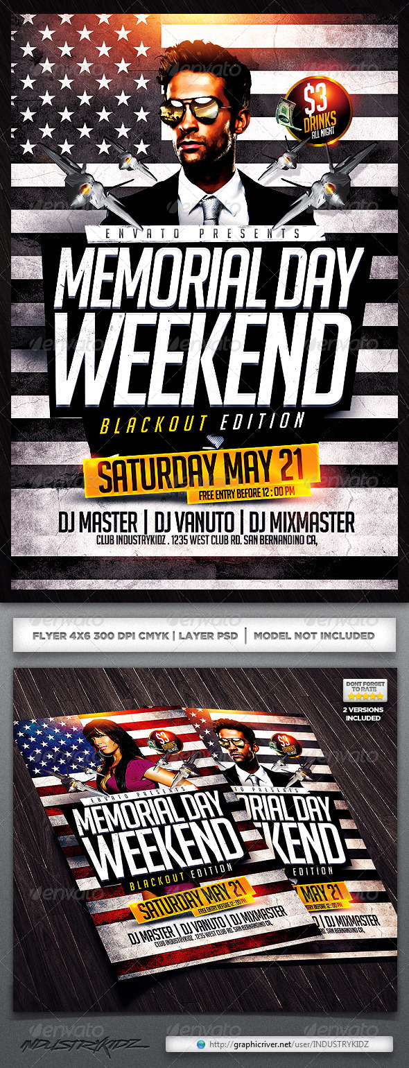 Memorial Day Flyers - Clubs & Parties Events