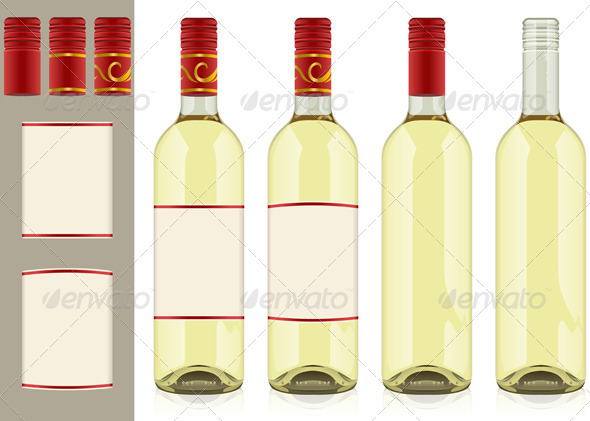 GraphicRiver Four Wine Bottles on White Background 4643250