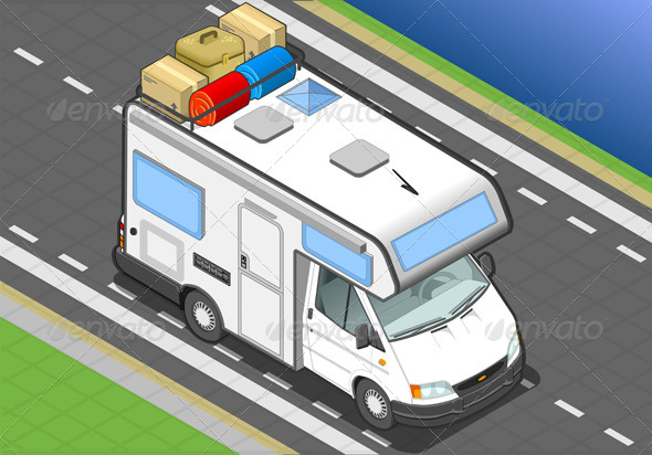 GraphicRiver Isometric Camper on the Way in Front View 4643419