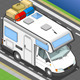 Isometric Camper on the Way in Front View - GraphicRiver Item for Sale