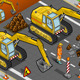 Isometric Yellow Excavator in Front View - GraphicRiver Item for Sale