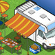 Isometric Camper in Camping in Front View - GraphicRiver Item for Sale