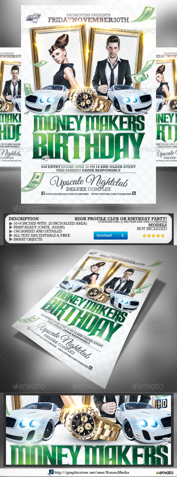 GraphicRiver Club Sessions l Money Makers Party Flyer 4644677