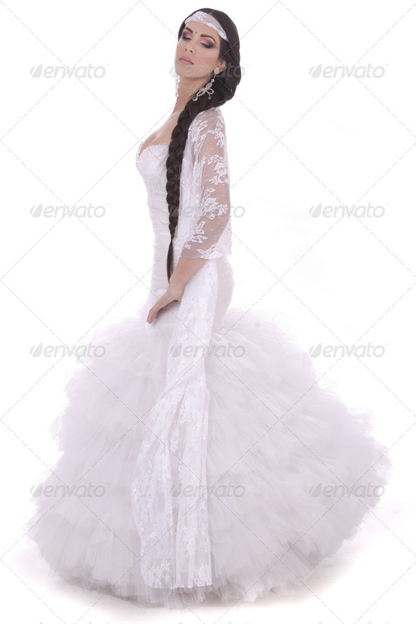 Beautiful lady dressed in wedding costume - Stock Photo - Images