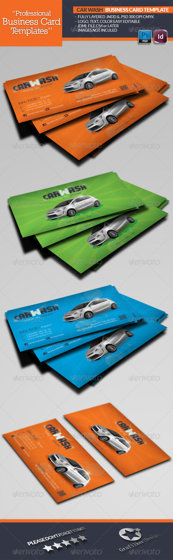 GraphicRiver Car Wash Business Card Template 4644866
