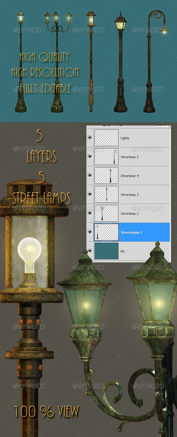 GraphicRiver Five Street Lamps 4644895