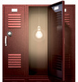Red School Lockers With Light Bulb Inside Front - PhotoDune Item for Sale