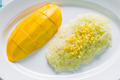 Sweet coconut sticky rice with mango (Khao niao mamuang) - PhotoDune Item for Sale