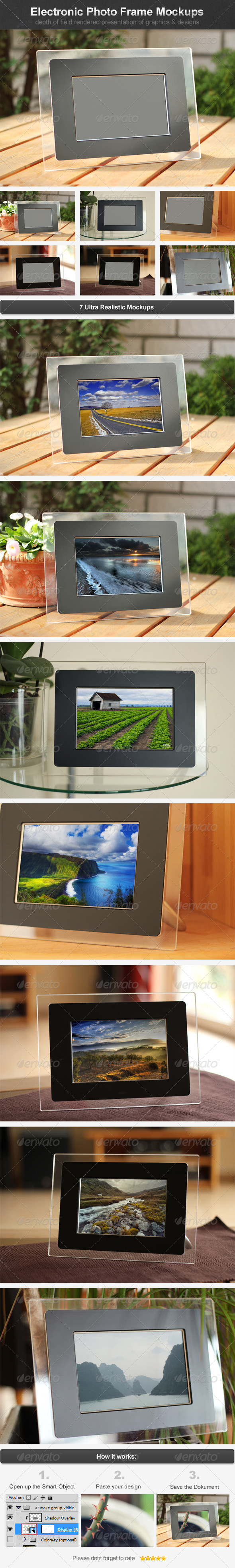 Electronic Photo Frame Mockups - Miscellaneous Displays