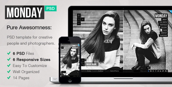 MONDAY — Responsive PSD Template - Photography Creative