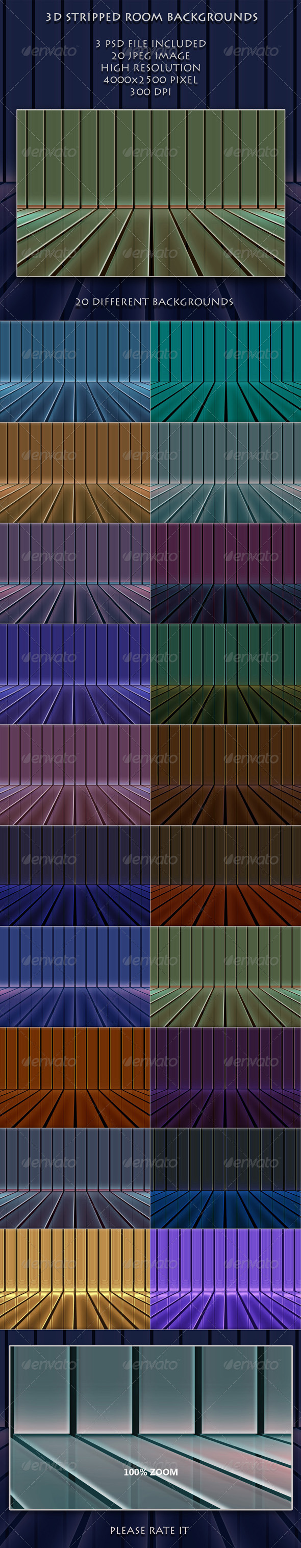 GraphicRiver 3D Striped Room Backgrounds 4569339