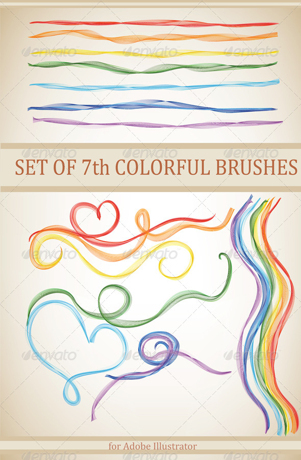 GraphicRiver 7 Colourful Brushes for Adobe Illustrator 4649429