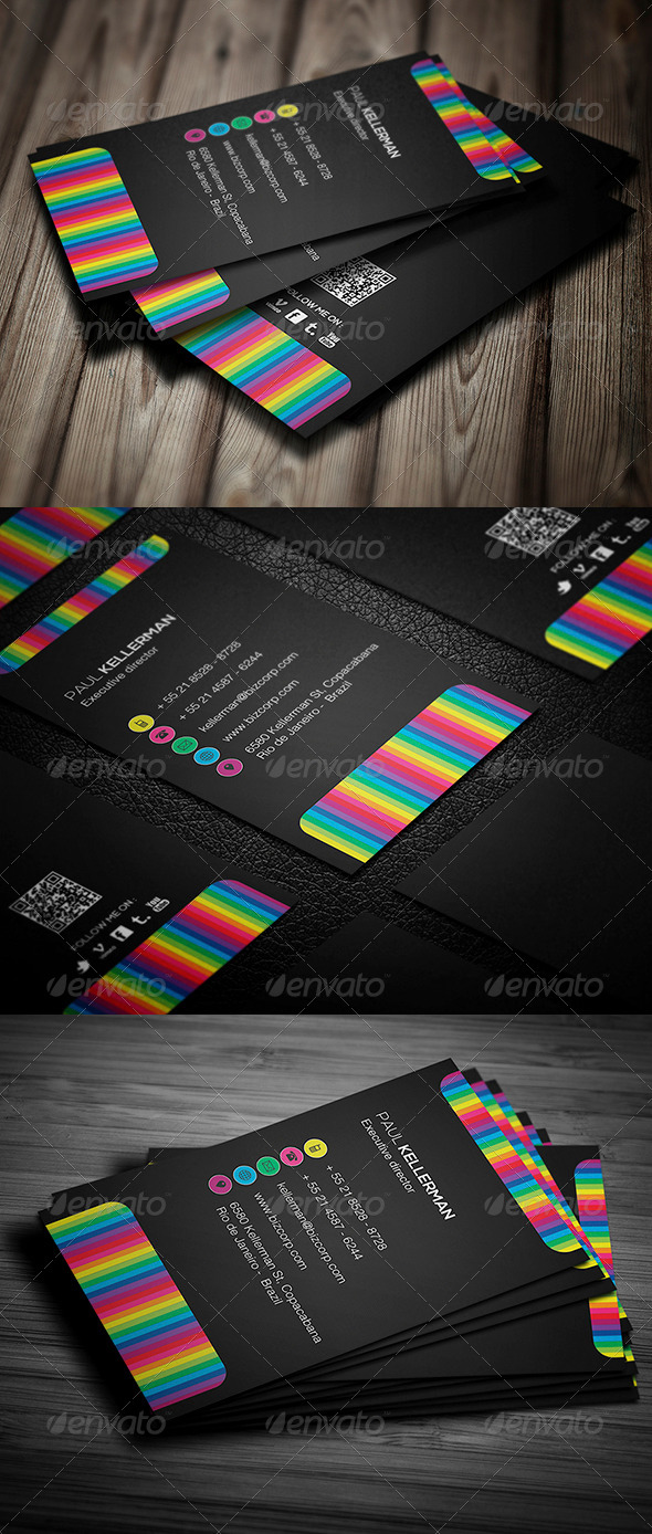 GraphicRiver Black With Colors Business Card 4580158
