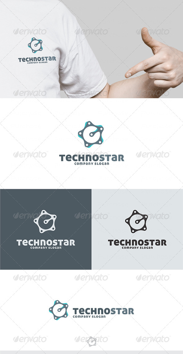 Techno Star Logo - Vector Abstract