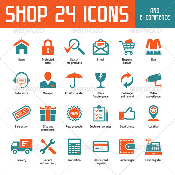 GraphicRiver Shop 24 Vector Icons 4651659