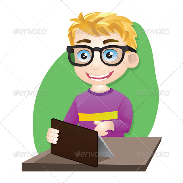 GraphicRiver Smart Boy Playing Tablet 4652684