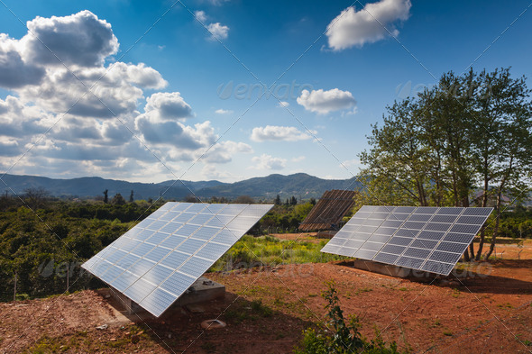 PhotoDune Solar power panels in a rural countryside 486647