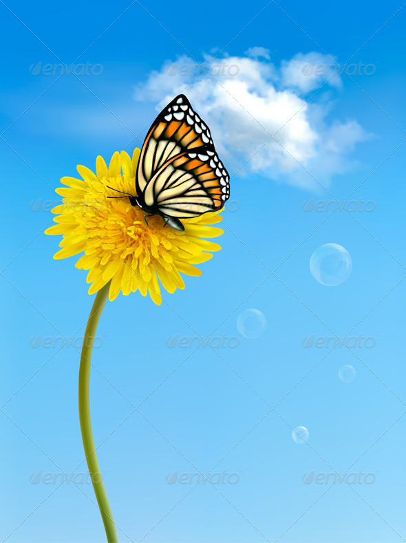 GraphicRiver Nature Background with Butterfly 4655514