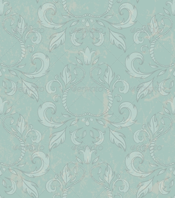 GraphicRiver Damask Seamless Wallpaper with Grunge Effect 4655851