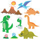 6 Dinosaurs 2 Eggs and Volcano - GraphicRiver Item for Sale