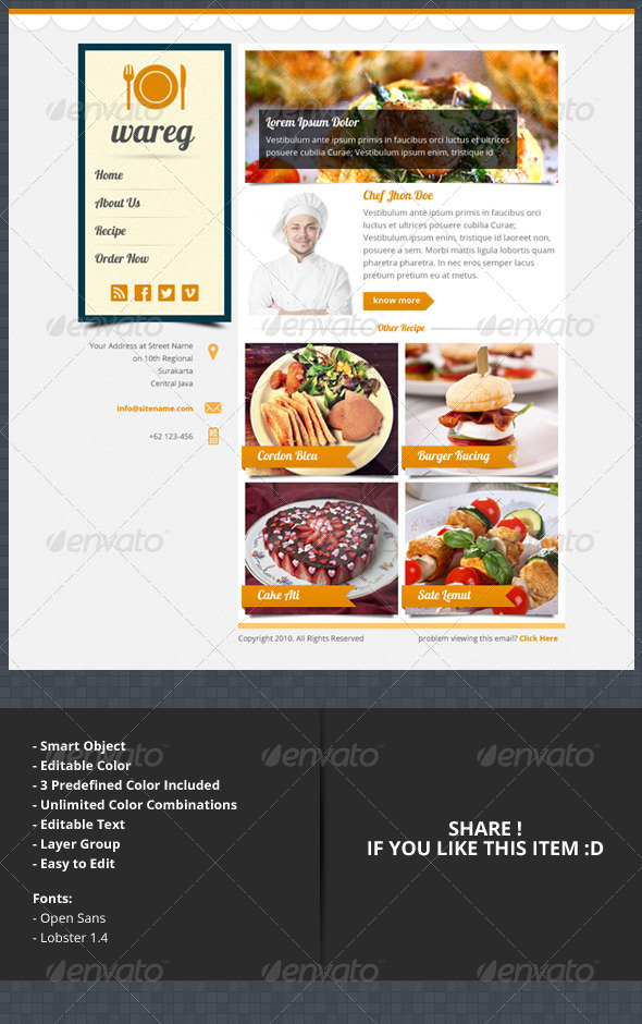 GraphicRiver Wareg PSD Newsletter Layout For Culinary 4657785