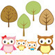 Owl Family and 4 Trees - GraphicRiver Item for Sale