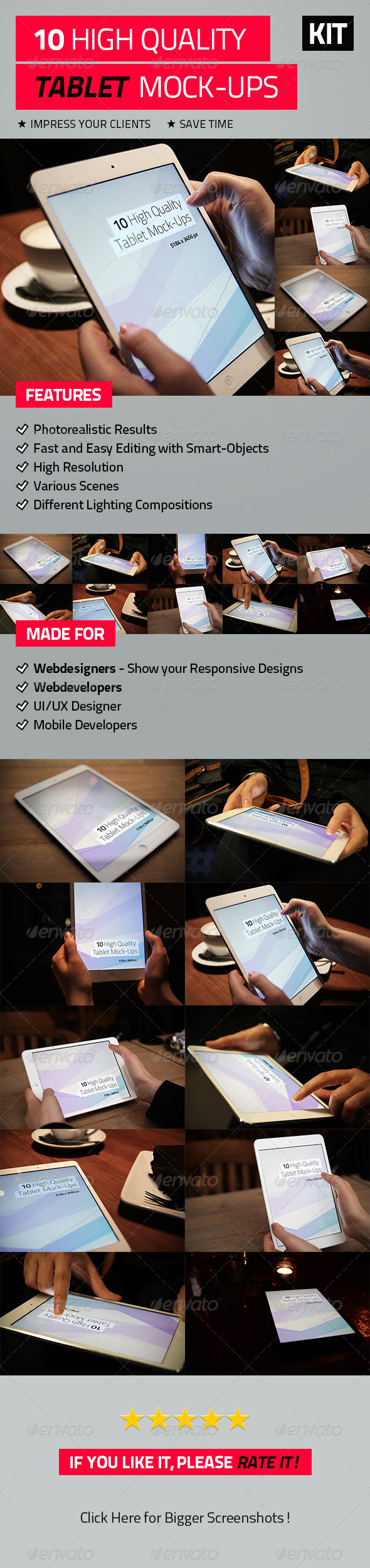10 High Quality Tablet Mock-Ups - Mobile Displays