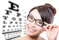 woman with glasses and eye test chart - PhotoDune Item for Sale