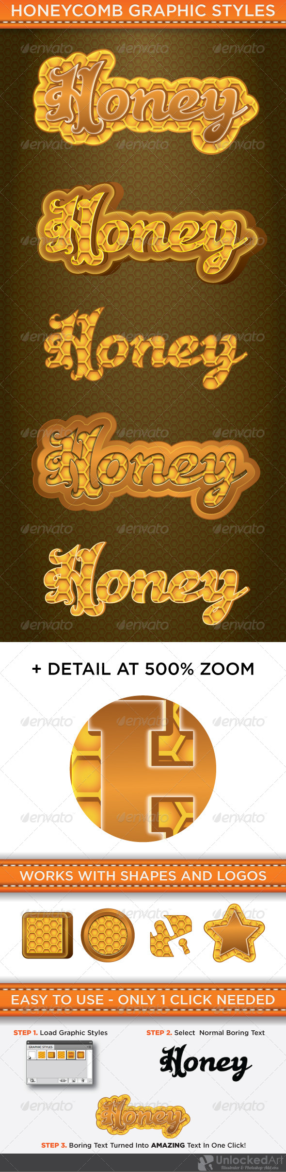 HoneyComb Graphic Styles - Styles Illustrator